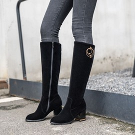 Ericdress Chunky Heel Side Zipper Short Floss Knee High Boots