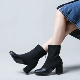 Ericdress Round Toe Chunky Heel Patchwork Fashion Boots