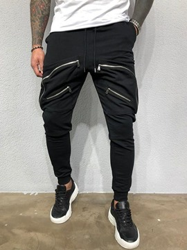 Ericdress Plain Baggy Zipper Lace-Up Mid Waist Men's Casual Pants