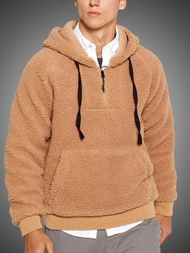 Ericdress Thick Pullover Plain Hooded Men's Hoodies