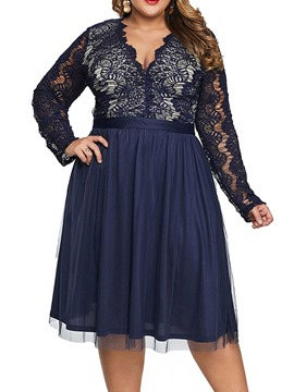 Ericdress Plus Size Long Sleeve Hollow Mid-Calf Spring Sweet Dress