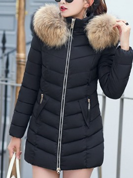 Ericdress Thick Zipper Slim Mid-Length Cotton Padded Fur Women's Jacket