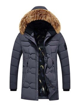 Ericdress Hooded Patchwork Color Block Zipper Casual Men's Down Jacket