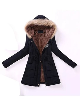 Ericdress Thick Slim Lace-Up Mid-Length Cotton Padded Women's Jacket