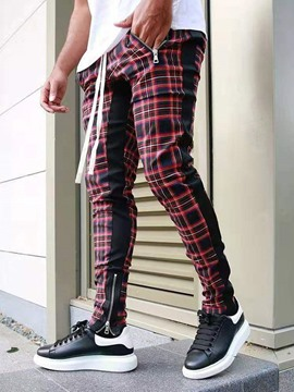 Ericdress Pencil Zipper Plaid Lace-Up Men's Casual Pants