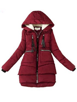 Ericdress Thick Zipper A Line Mid-Length Cotton Padded Women's Jacket