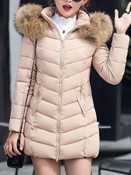 Ericdress Slim Thick Zipper Mid-Length Cotton Padded Women's Jacket