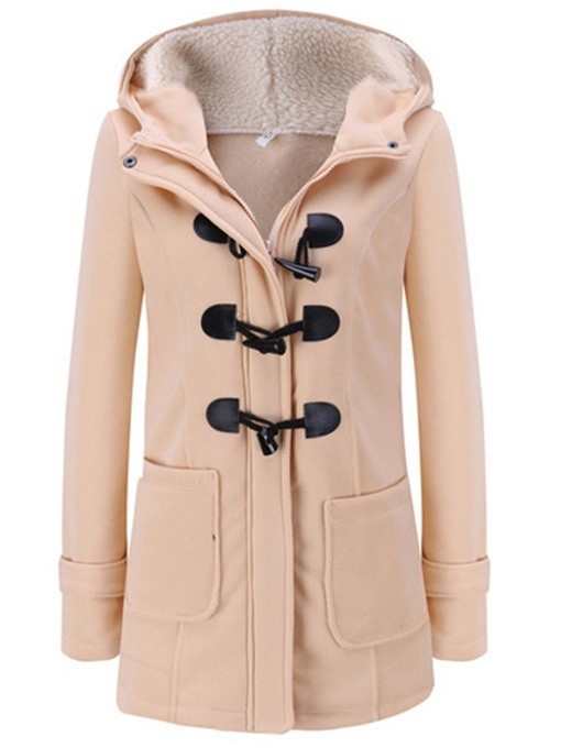 Ericdress Regular Slim Horn Button Fall Hooded Women's Overcoat