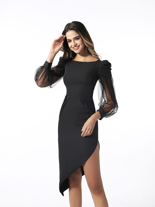 Ericdress Seath Asymmetry Long Sleeves Cocktail Dress