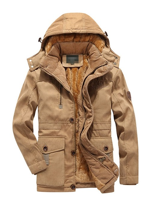 Ericdress Mid-Length Hooded Casual Zipper Men's Down Jacket