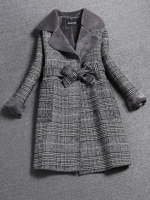 Ericdress Slim Lace-Up Regular Notched Lapel Mid-Length Women's Overcoat