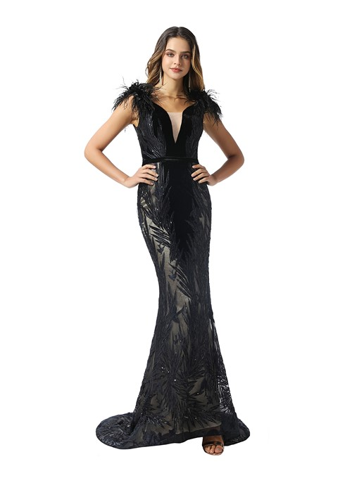 Ericdress Feather V-Neck Mermaid Balck Evening Dress 2020
