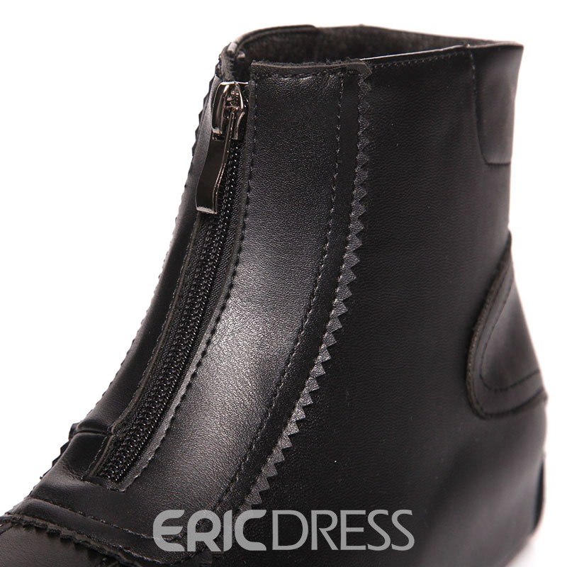 Ericdress Front Zipper Round Toe Plain Zipper Fashion Boots