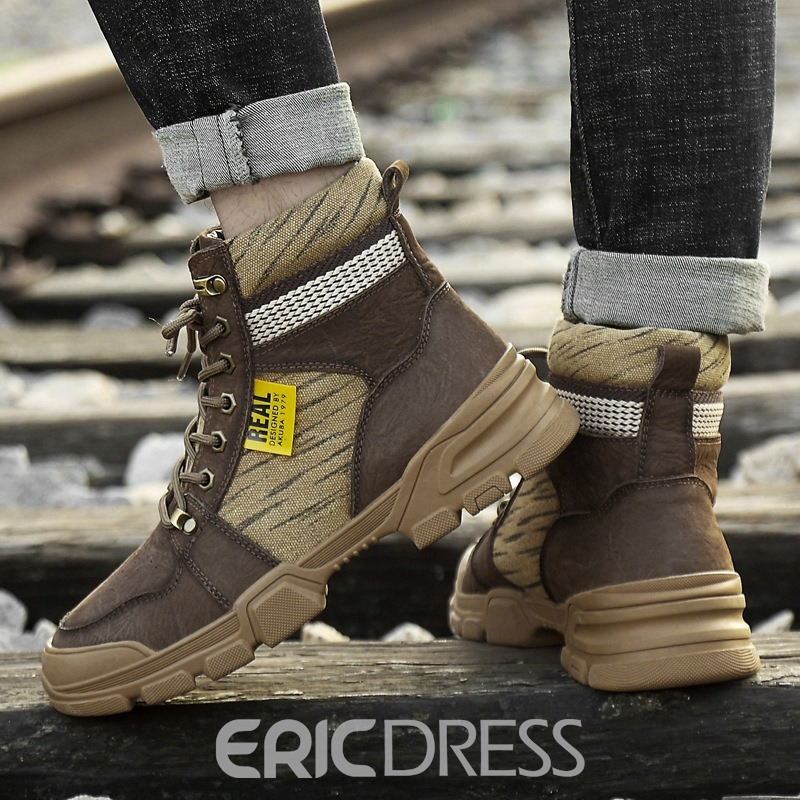 Ericdress Round Toe Lace-Up Front Leather Winter Men's Boots