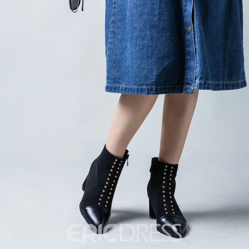 Ericdress Pointed Toe Side Zipper Patchwork Ankle Boots