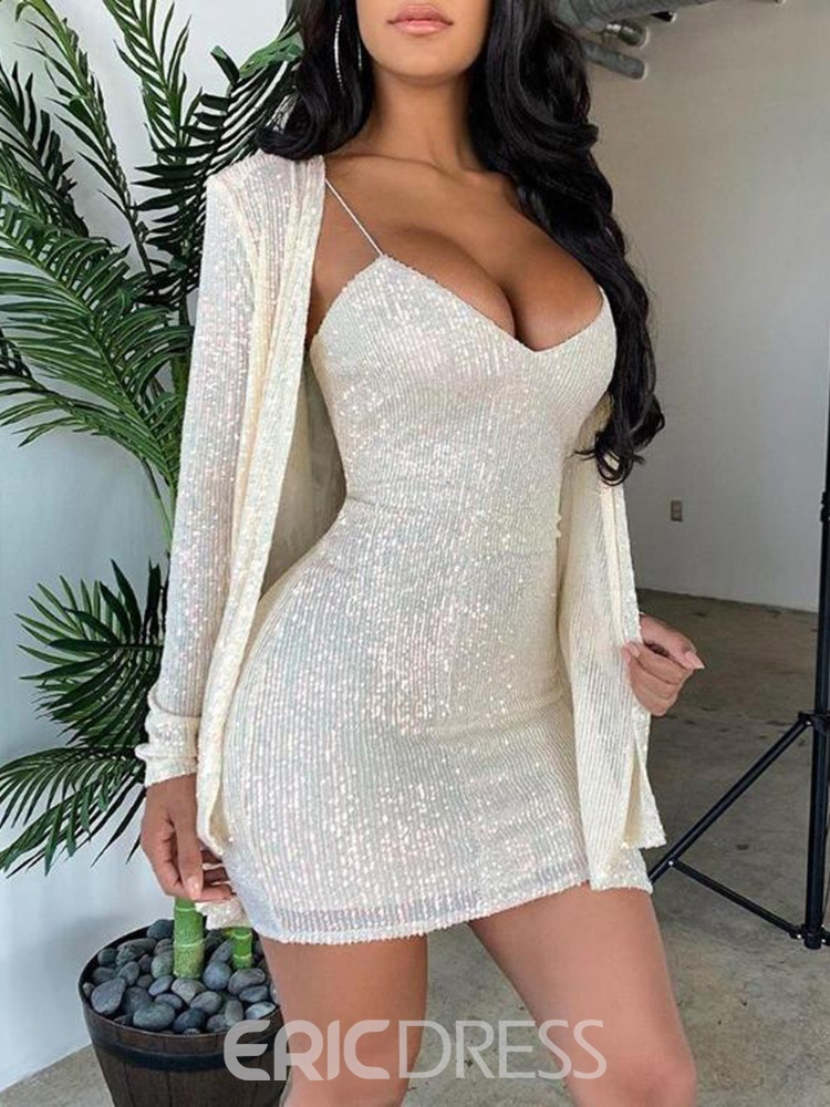 Ericdress Sexy Off Shoulder Plain Coat Casual Two Piece Sets