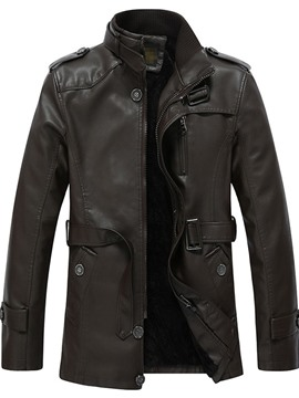Ericdress Plain Stand Collar Punk Slim Men's Leather Jacket