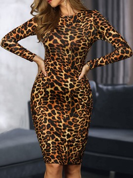 Ericdress Print Long Sleeve Knee-Length Sexy Regular Dress