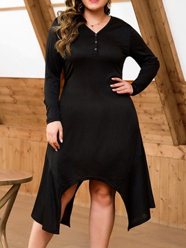Ericdress Plus Size V-Neck Asymmetric Mid-Calf Casual Plain Dress