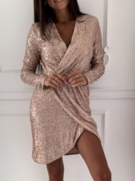 Ericdress Asymmetric V-Neck Long Sleeve Regular Spring Dress