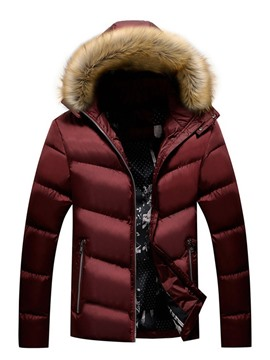 Ericdress Standard Patchwork Hooded Casual Zipper Men's Down Jacket