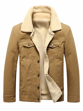 Ericdress Artificial Fleece Lapel Patchwork Single-Breasted Men's Casual Jacket