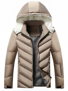 Ericdress Patchwork Color Block Hooded Zipper Casual Men's Down Jacket