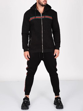 Ericdress Patchwork Color Block Hoodie Men's Outfit