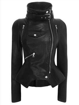 Ericdress Slim Standard PU Black Women's Jacket