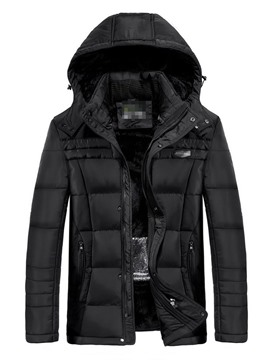 Ericdress Plain Zipper Hooded Casual Men's Down Jacket