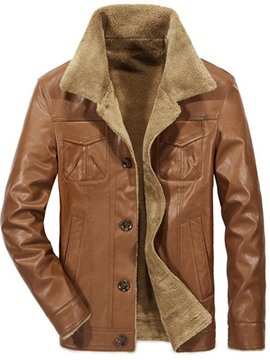 Ericdress Standard Lapel Single-Breasted Men's Leather Jacket