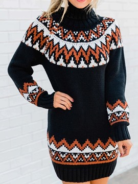 Ericdress Above Knee Long Sleeve Print Fall Geometric Dress