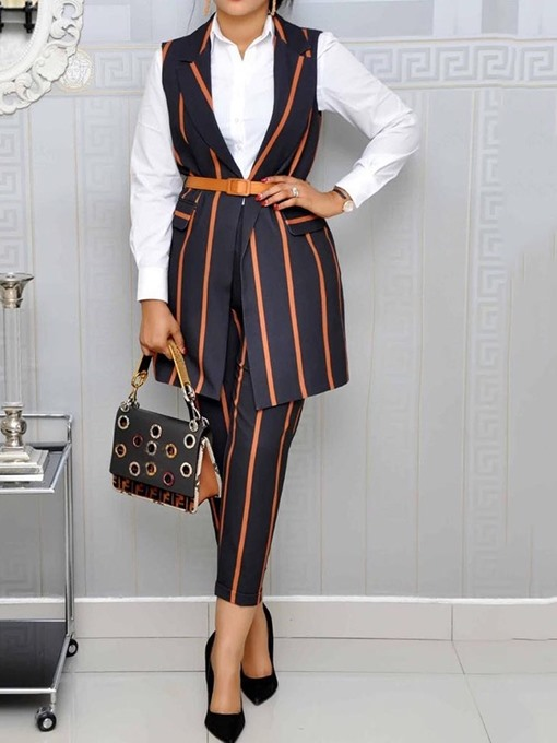 Ericdress Office Lady Stripe Notched Lapel Two Piece Sets