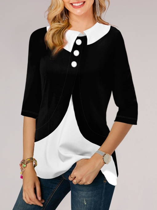 Ericdress Three-Quarter Sleeve Mid-Length Color Block Western Loose Women's T-Shirt
