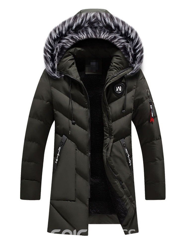 Ericdress Patchwork Color Block Hooded Zipper European Men's Down Jacket
