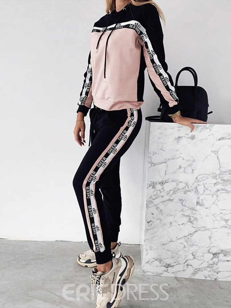 Ericdress Hoodie Casual Letter Pullover Pencil Pants Two Piece Sets