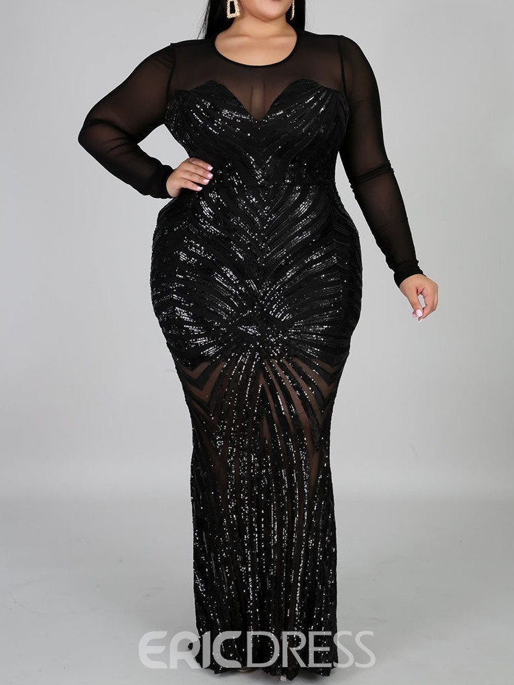 Ericdress Plus Size Round Neck Long Sleeve Floor-Length Bodycon Plus Size Dress