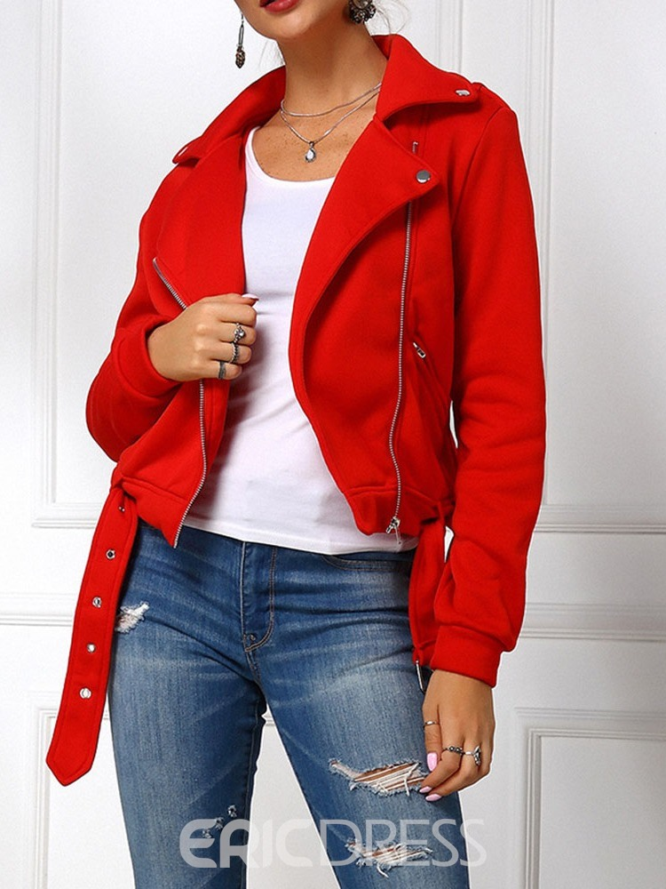 Ericdress Straight Long Sleeve Zipper Lapel Regular Women's Jacket