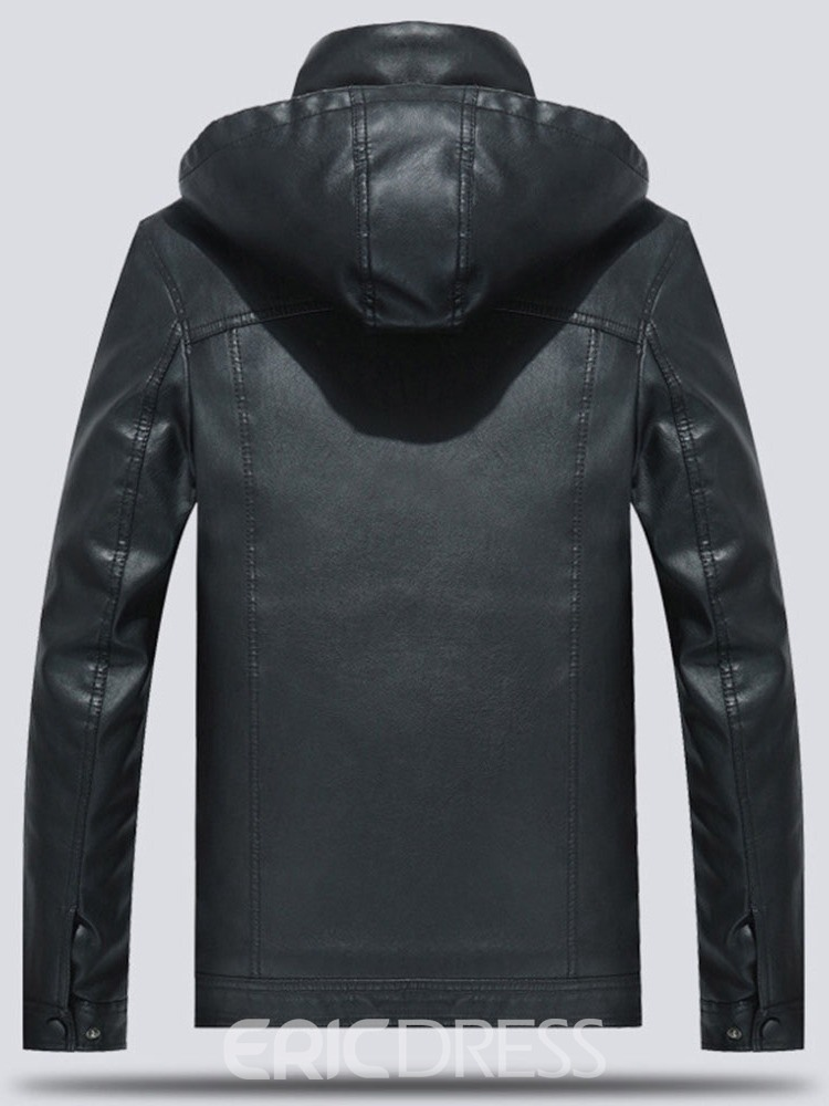 Ericdress Standard Hooded Plain Zipper Men's Leather Jacket