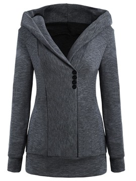 Ericdress Regular Plain Button Thin Hooded Women's Hoodie