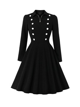 ericdress bouton vintage robe à manches longues revers printemps