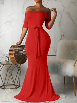 Ericdress Floor-Length Off Shoulder Three-Quarter Sleeve Regular Party/Cocktail Dress
