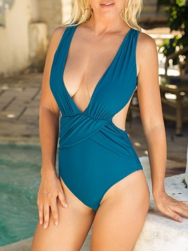 Ericdress Pleated One Piece Plain Swimwear