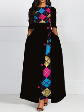 Ericdress Floor-Length Print Half Sleeve A-Line Pullover Dress