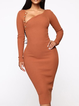 Ericdress Long Sleeve Mid-Calf Plain Mid Waist Dress