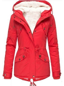 Ericdress Patchwork Slim Zipper Mid-Length Women's Cotton Padded Jacket
