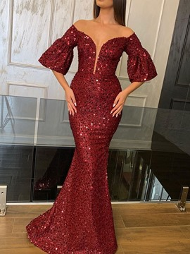 Ericdress Sequins Floor-Length Half Sleeve Dress Mermaid Dress