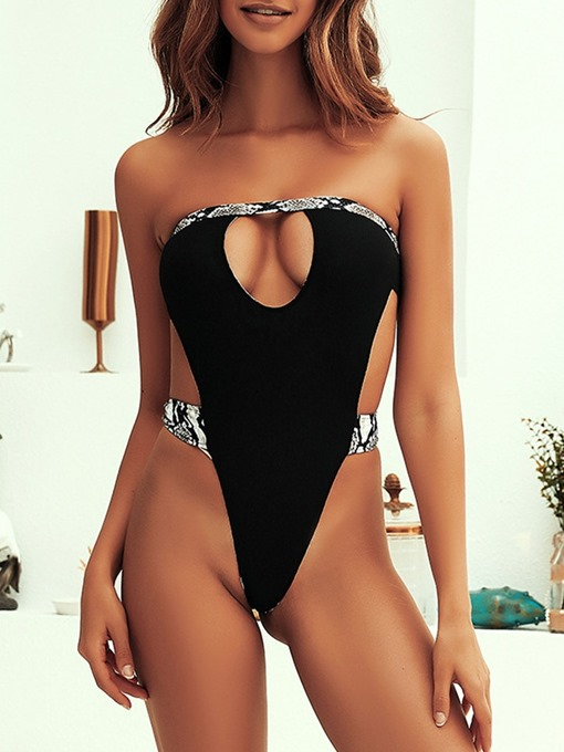 Ericdress One Piece Sexy Strapless Color Block Swimwear