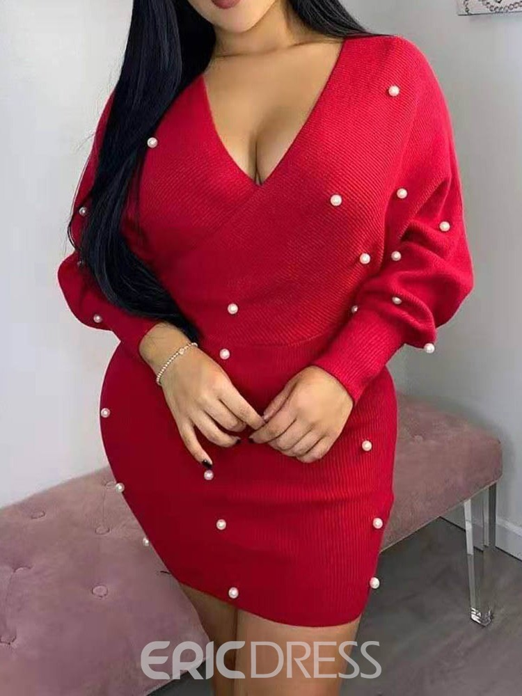 ericdress perle manches longues col en v date date / sortie robe unie