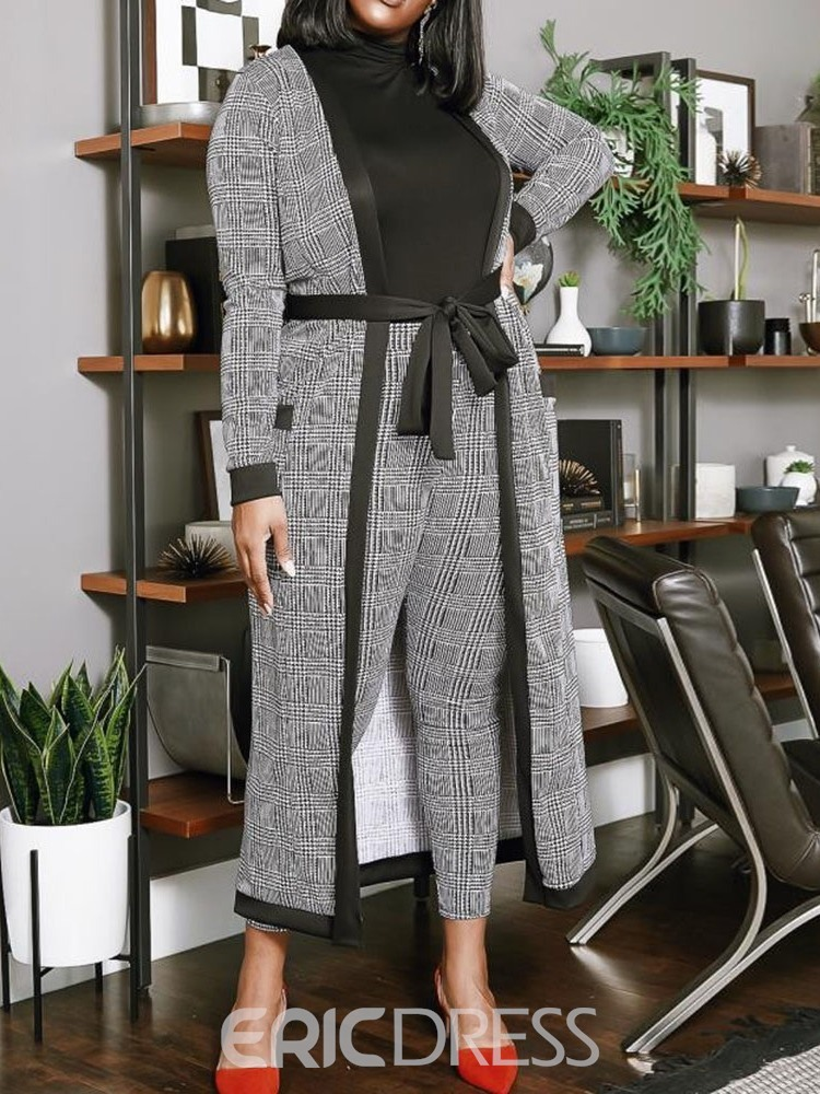 Ericdress Plus Size Plaid Casual Two Piece Sets